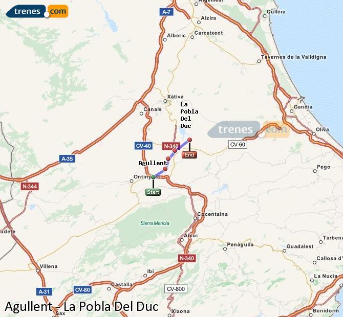 Enlarge map Trains Agullent to La Pobla Del Duc