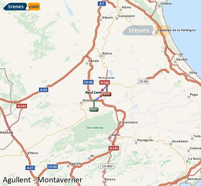 Enlarge map Trains Agullent to Montaverner