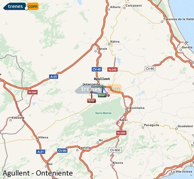 Enlarge map Trains Agullent to Onteniente