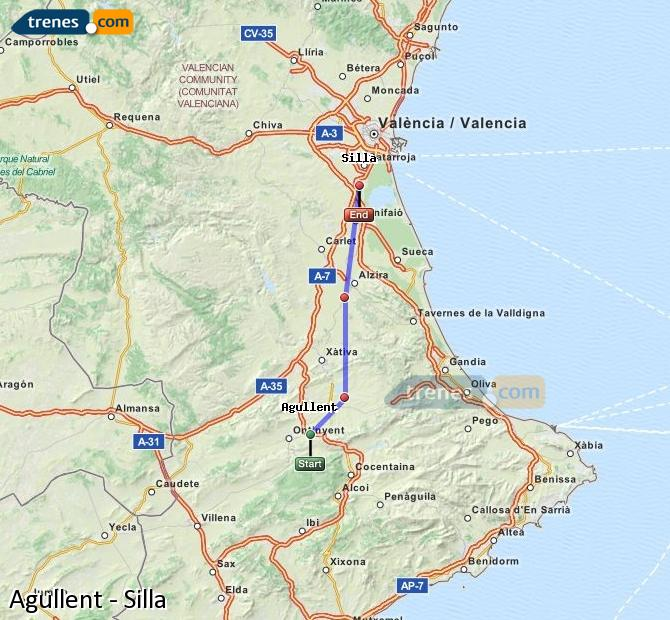 Enlarge map Trains Agullent to Silla