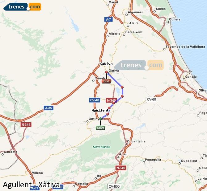 Agrandir la carte Trains Agullent Xàtiva