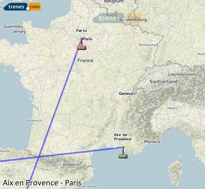 Ampliar mapa Comboios Aix en Provence Paris