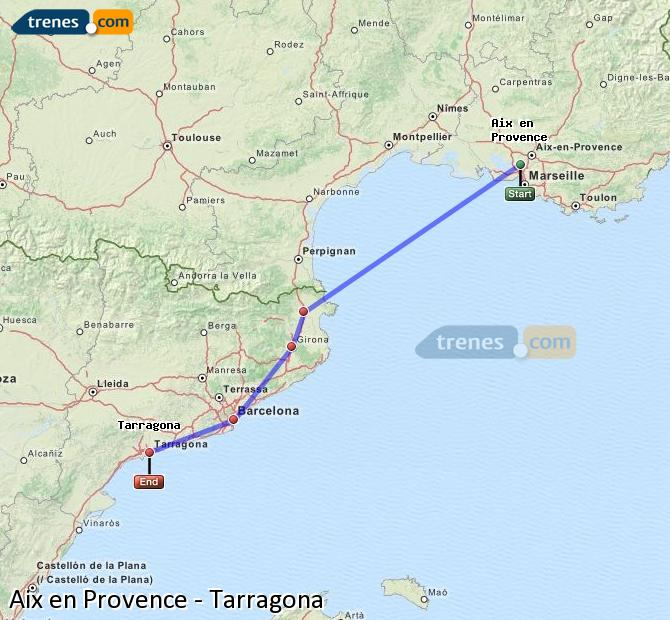 Ampliar mapa Trenes Aix en Provence Tarragona