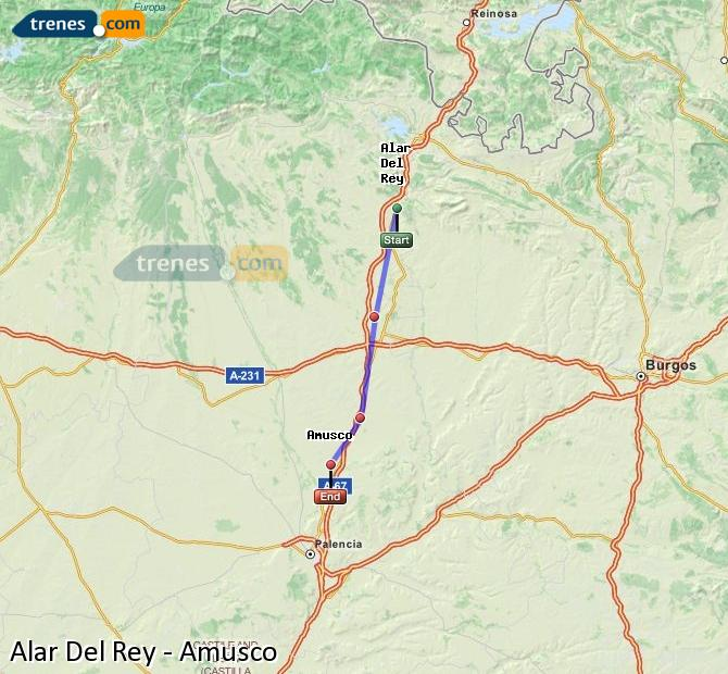 Ingrandisci la mappa Treni Alar Del Rey Amusco