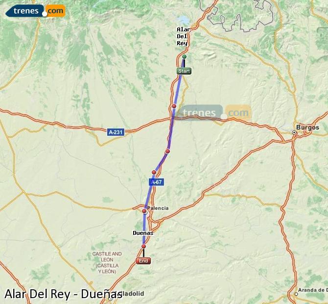 Karte vergrößern Züge Alar Del Rey Dueñas