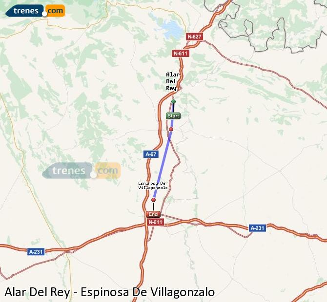Agrandir la carte Trains Alar Del Rey Espinosa De Villagonzalo