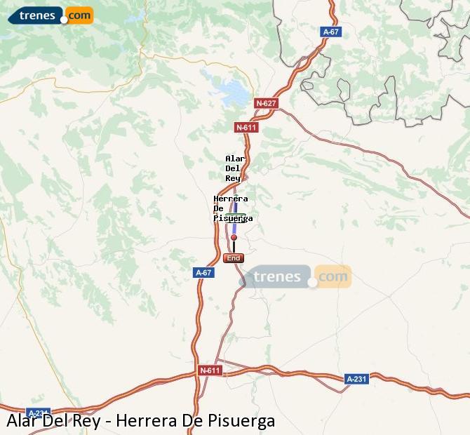 Enlarge map Trains Alar Del Rey to Herrera De Pisuerga