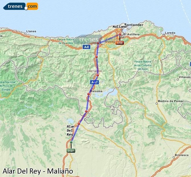Enlarge map Trains Alar Del Rey to Maliaño