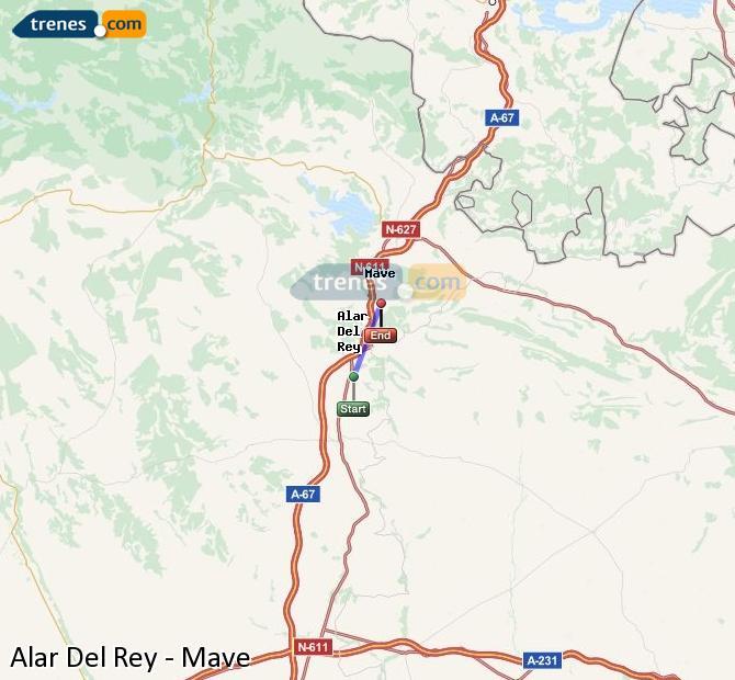 Enlarge map Trains Alar Del Rey to Mave