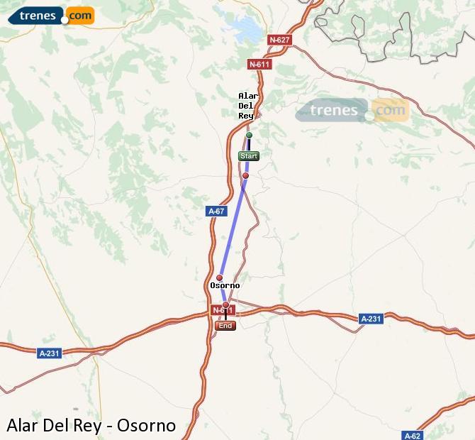 Enlarge map Trains Alar Del Rey to Osorno
