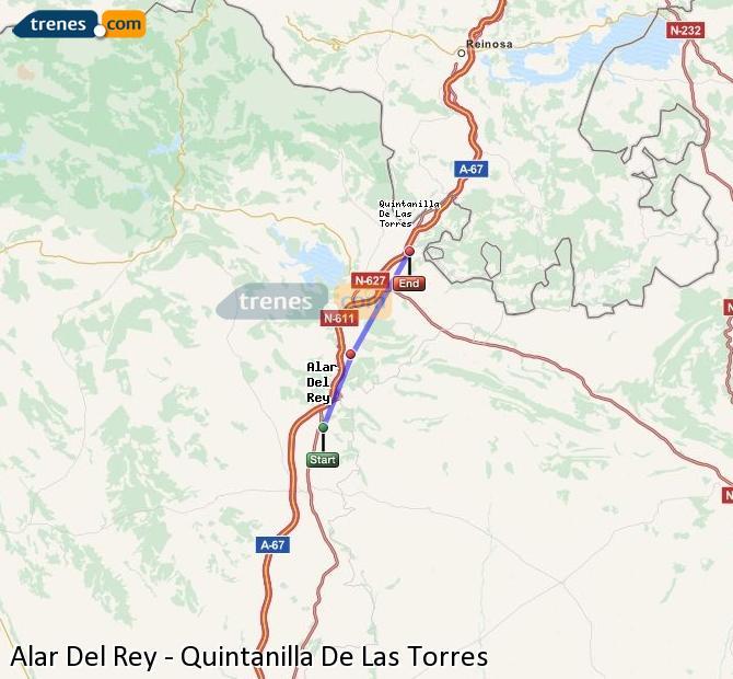 Enlarge map Trains Alar Del Rey to Quintanilla De Las Torres