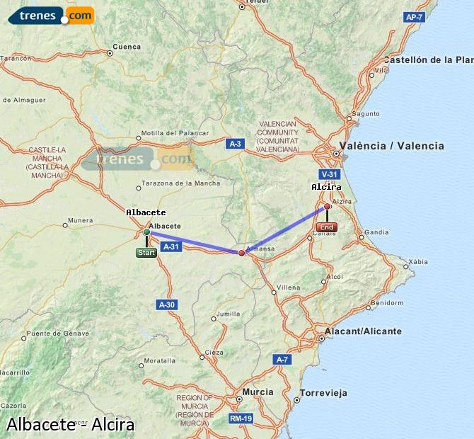 Enlarge map Trains Albacete to Alcira