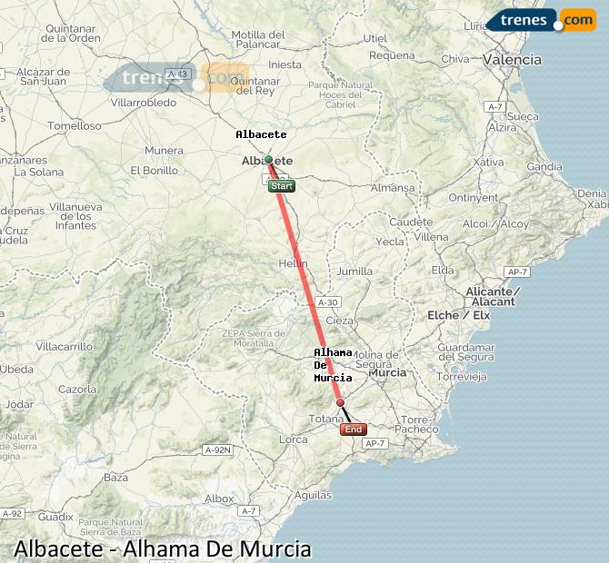Ampliar mapa Comboios Albacete Alhama De Murcia