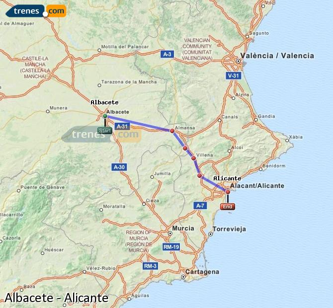 Enlarge map Trains Albacete to Alicante