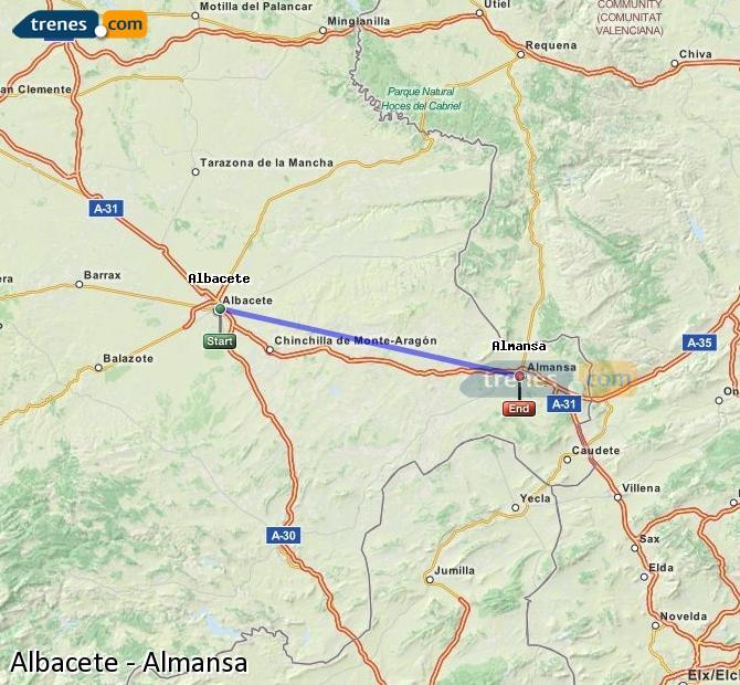 Enlarge map Trains Albacete to Almansa