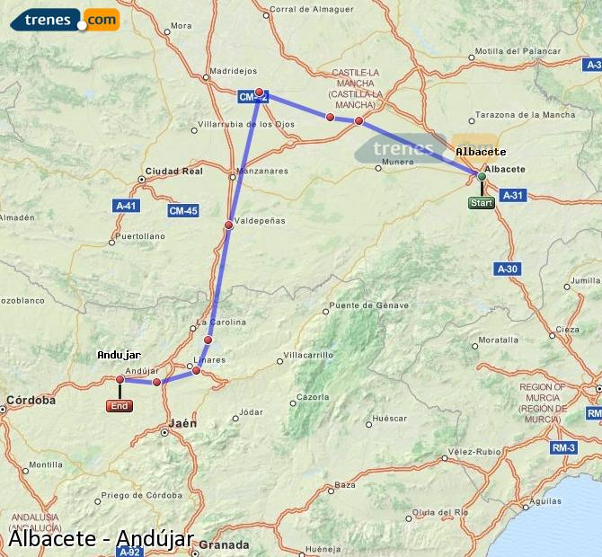 Enlarge map Trains Albacete to Andújar