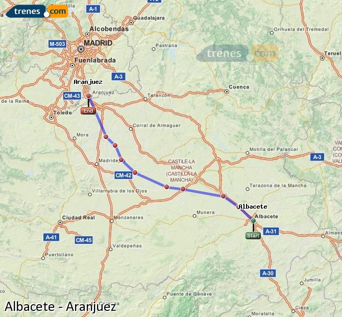 Enlarge map Trains Albacete to Aranjuez