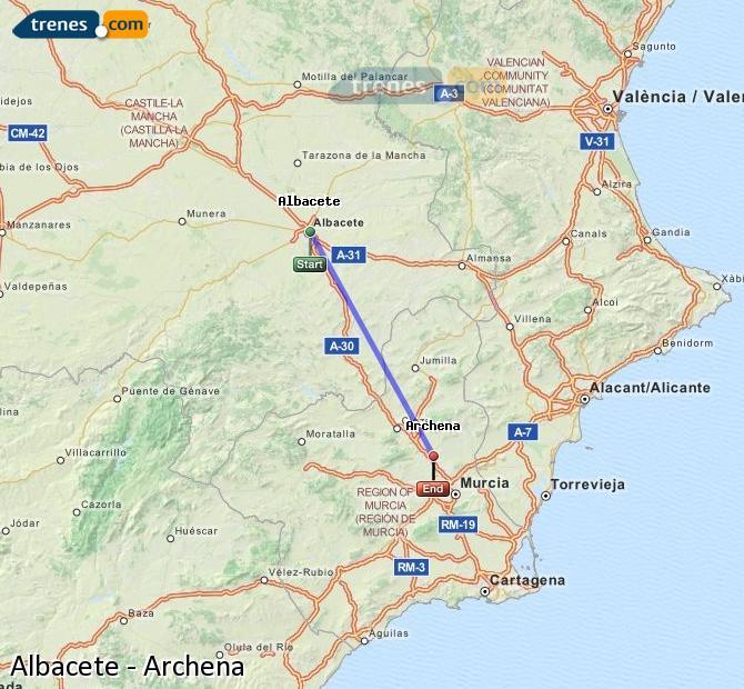 Ingrandisci la mappa Treni Albacete Archena