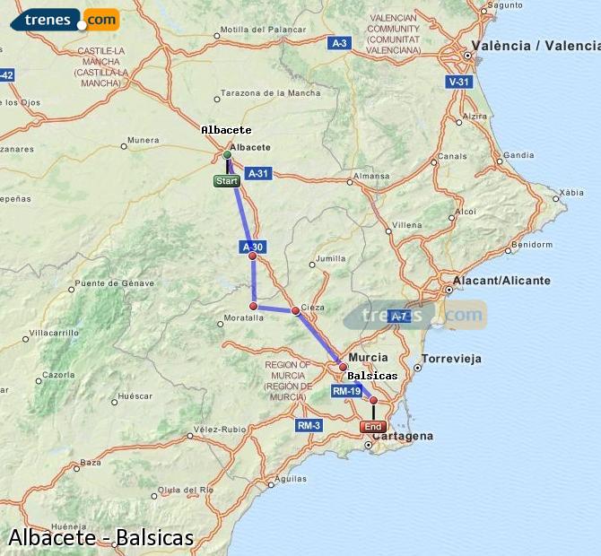 Karte vergrößern Züge Albacete Balsicas