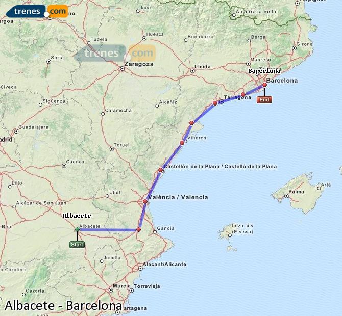 Karte vergrößern Züge Albacete Barcelona