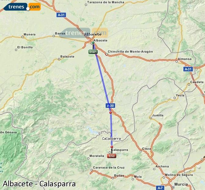 Enlarge map Trains Albacete to Calasparra