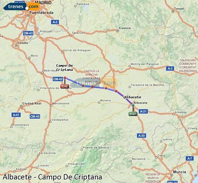 Enlarge map Trains Albacete to Campo De Criptana