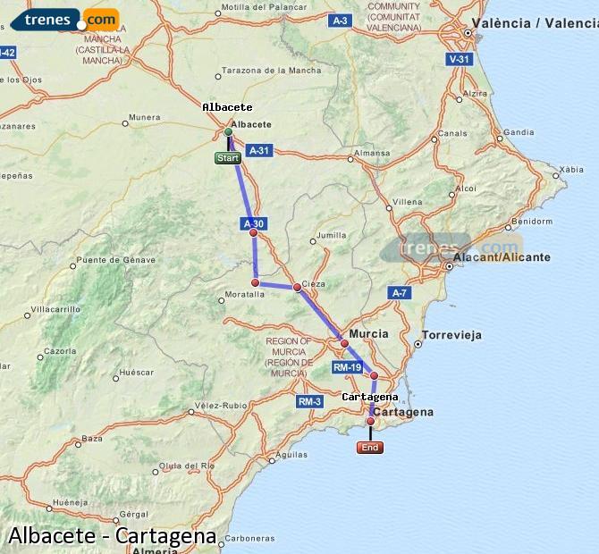 Enlarge map Trains Albacete to Cartagena