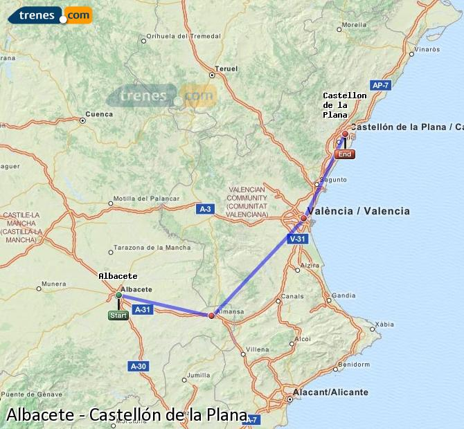 Enlarge map Trains Albacete to Castellón