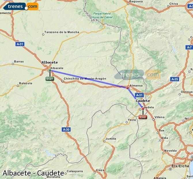 Ingrandisci la mappa Treni Albacete Caudete