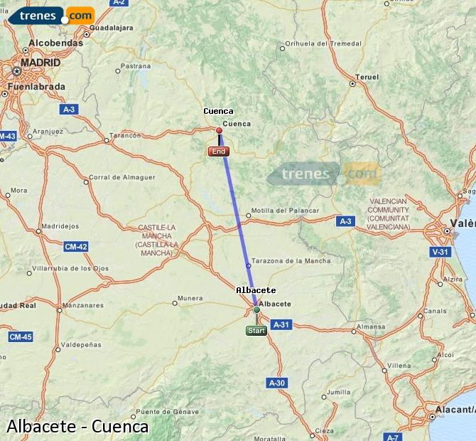 Enlarge map Trains Albacete to Cuenca