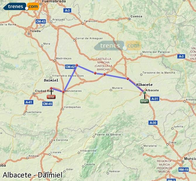 Ingrandisci la mappa Treni Albacete Daimiel