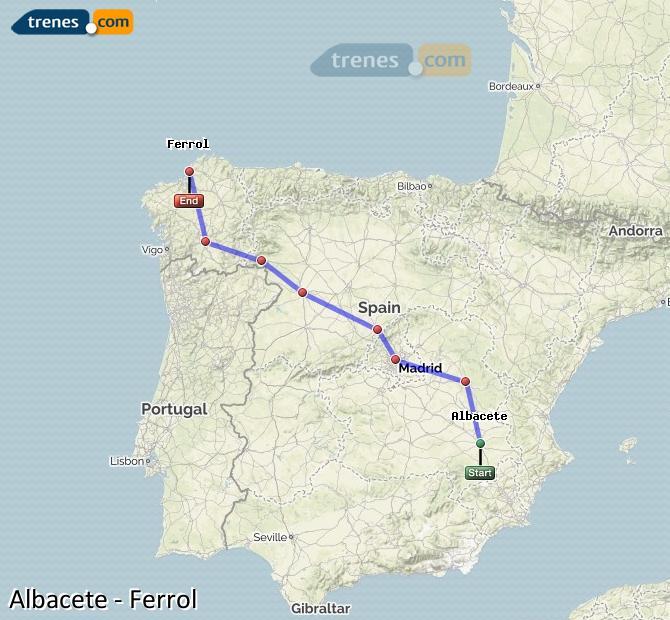 Ingrandisci la mappa Treni Albacete Ferrol