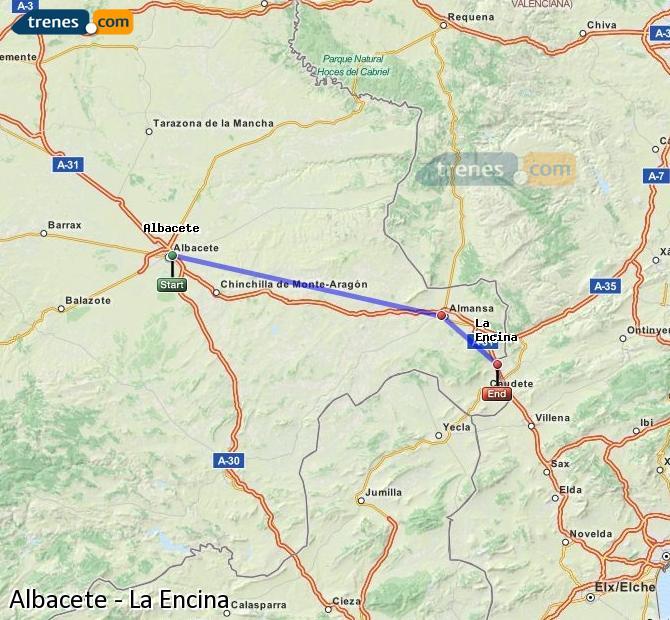 Enlarge map Trains Albacete to La Encina