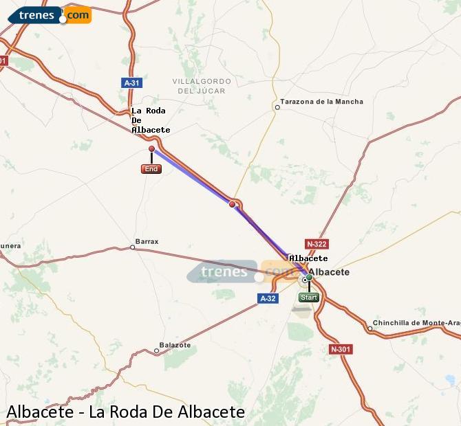 Enlarge map Trains Albacete to La Roda De Albacete