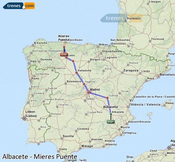 Enlarge map Trains Albacete to Mieres Puente