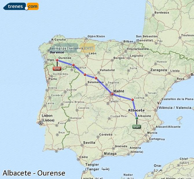 Enlarge map Trains Albacete to Ourense