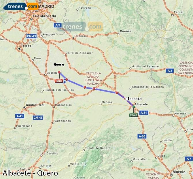 Enlarge map Trains Albacete to Quero