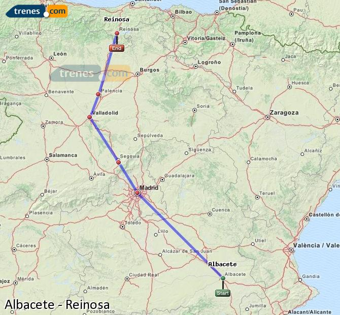 Agrandir la carte Trains Albacete Reinosa