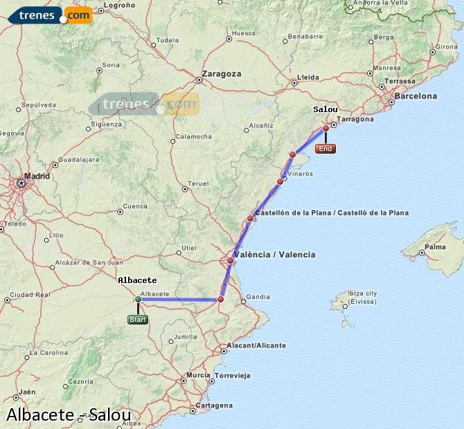 Ampliar mapa Comboios Albacete Salou