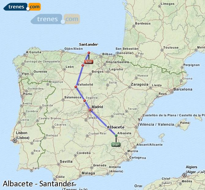 Enlarge map Trains Albacete to Santander