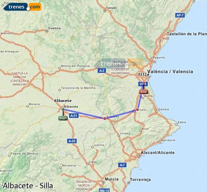 Enlarge map Trains Albacete to Silla