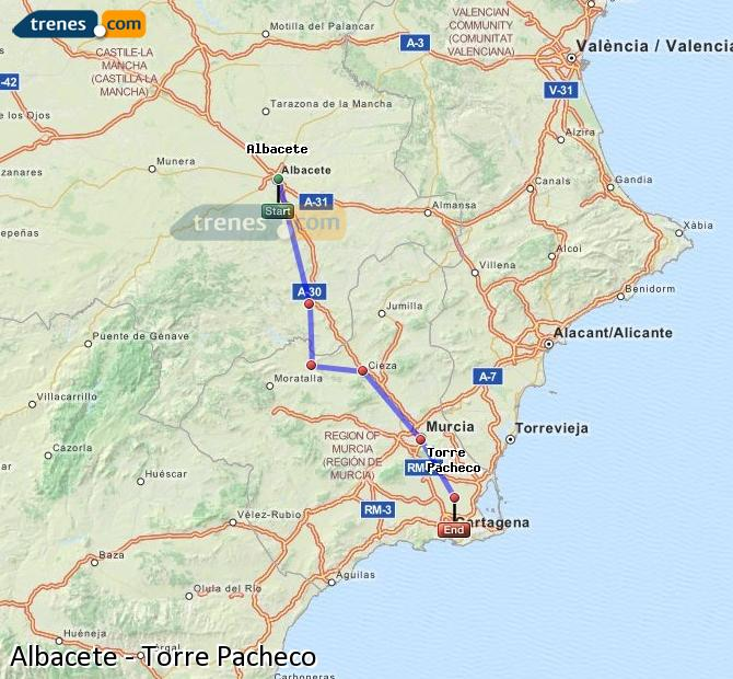 Ingrandisci la mappa Treni Albacete Torre Pacheco