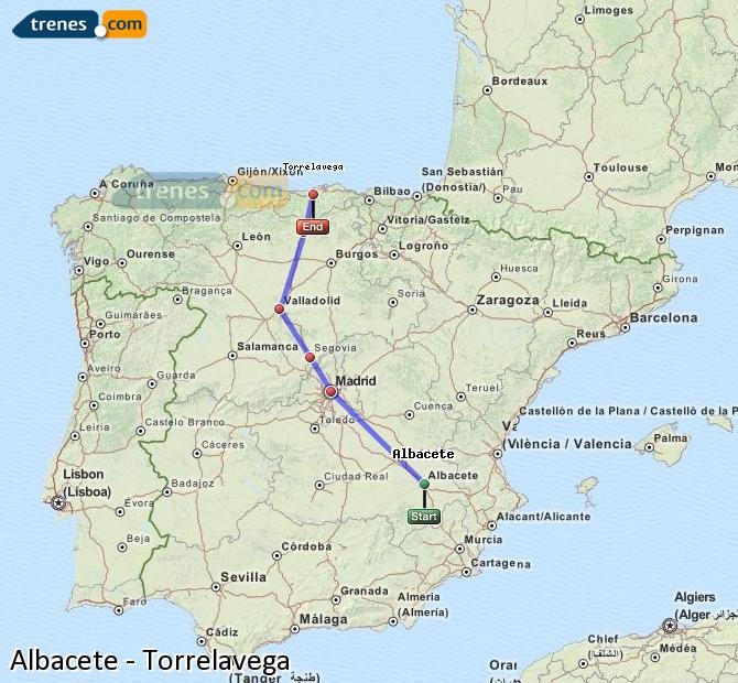 Ampliar mapa Trenes Albacete Torrelavega