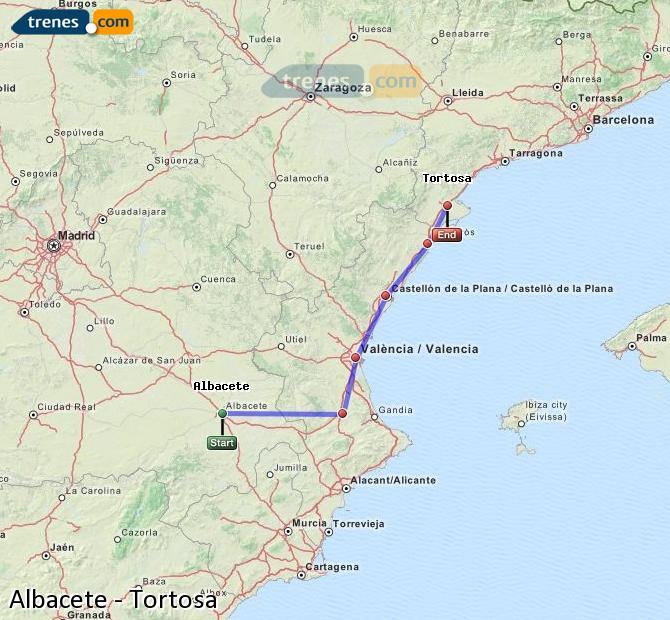 Enlarge map Trains Albacete to Tortosa