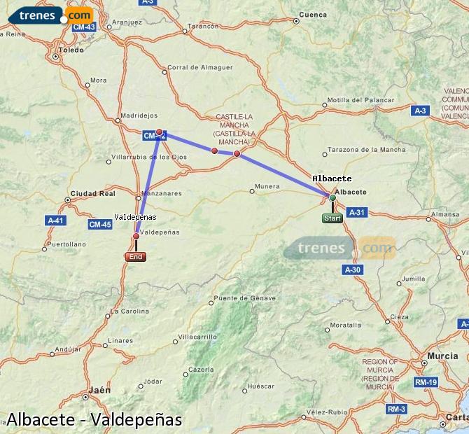 Karte vergrößern Züge Albacete Valdepeñas