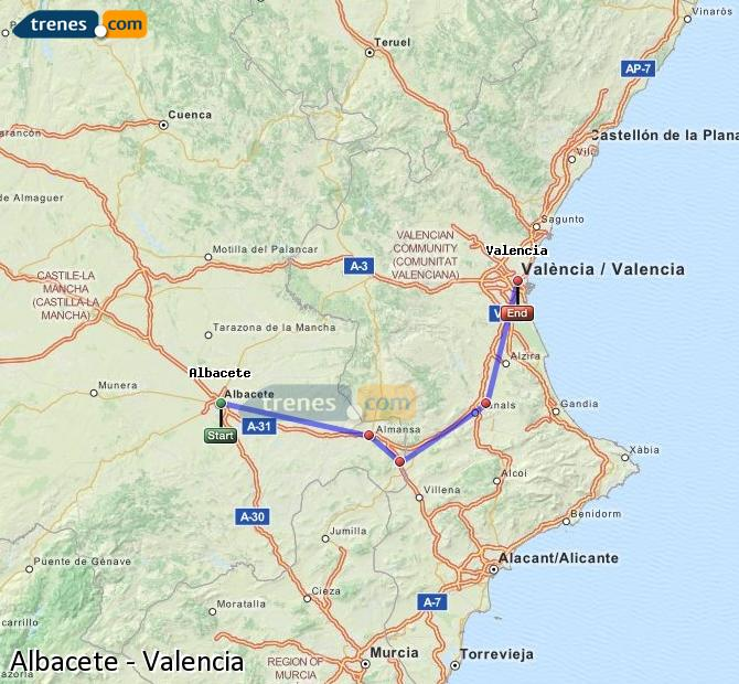 Enlarge map Trains Albacete to Valencia