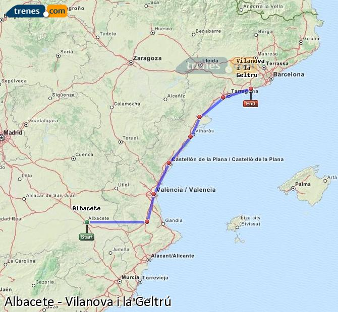 Karte vergrößern Züge Albacete Vilanova i la Geltrú
