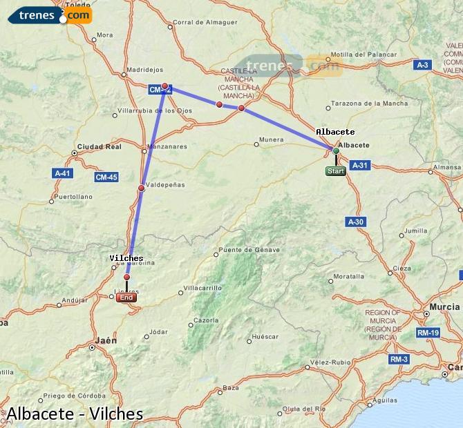 Ampliar mapa Trenes Albacete Vilches