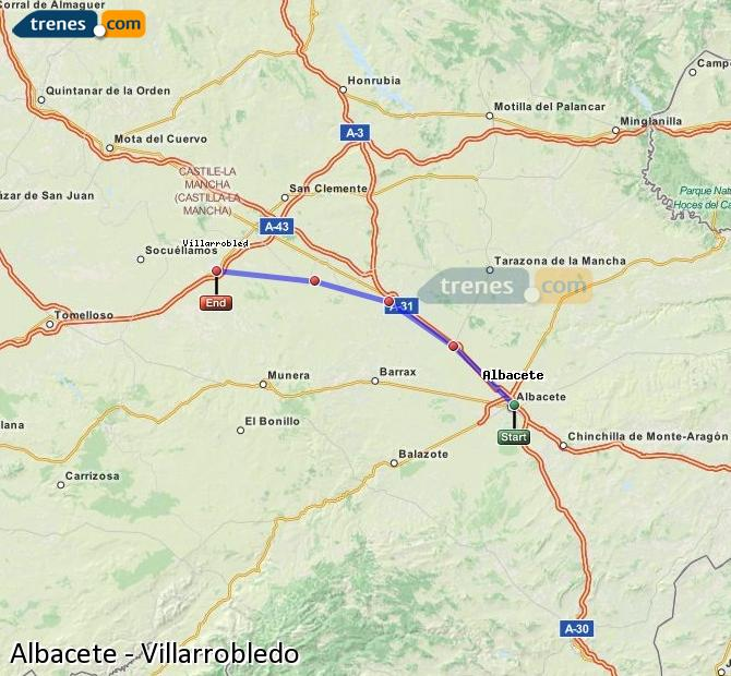 Enlarge map Trains Albacete to Villarrobledo