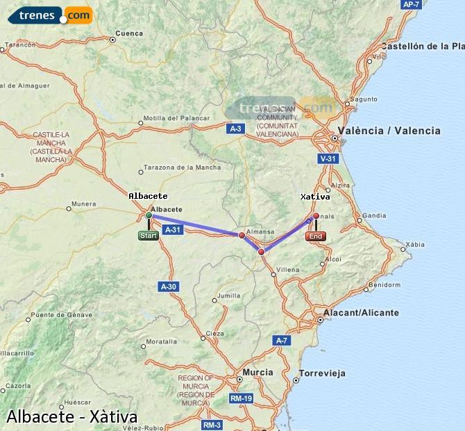 Ingrandisci la mappa Treni Albacete Xàtiva